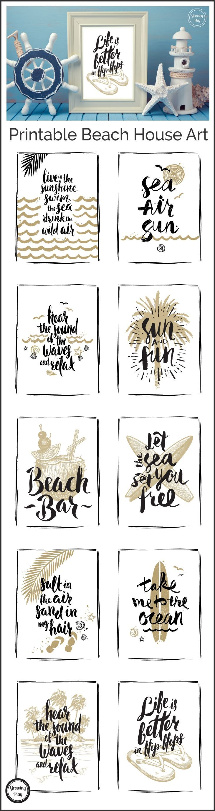 Life is Better in Flip Flops - free beach art print to download for your beach house decor, home decor or office. Let your mind wander back to the beach.