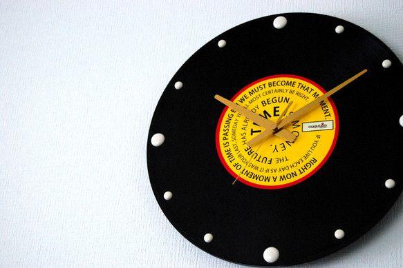《レコード盤時計(時間に関する名言)①》30cm×30cm