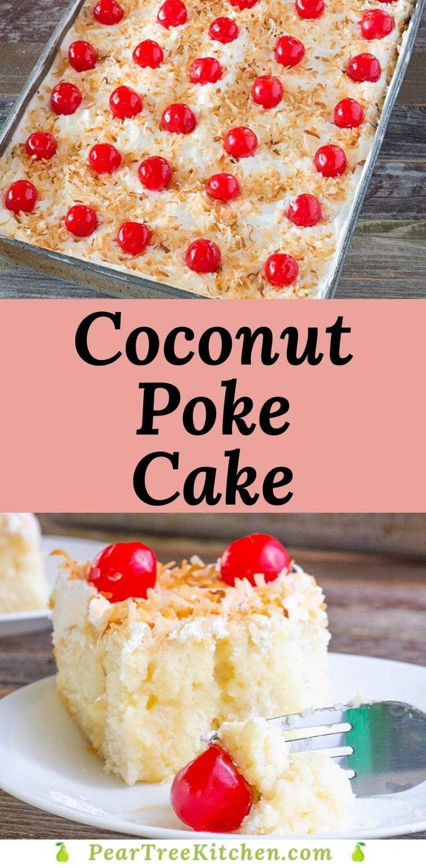 Coconut Poke Cake In 2020 Condensed Milk Recipes Desserts Coconut Poke Cakes Milk Recipes Dessert