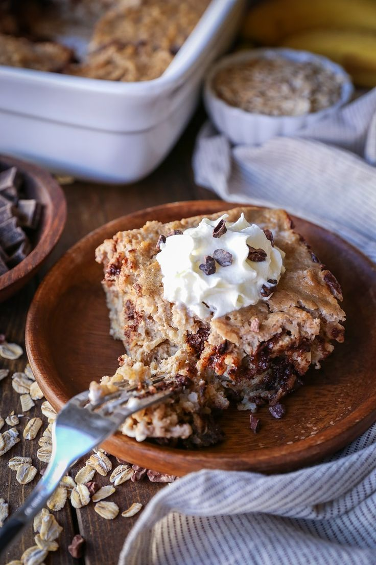 Chocolate Chip Banana Bread Baked Oatmeal - The Roasted Root