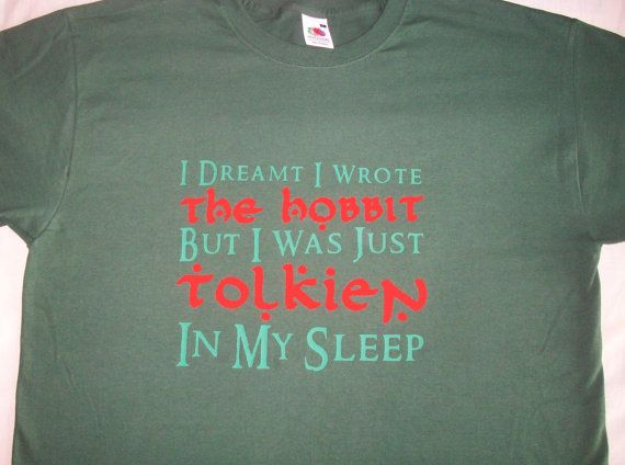 Tolkien Hobbit pun tshirt by GelertDesign on Etsy, £12.00