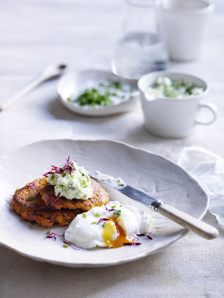 Sweet potato rosti with herbed ricotta and poached egg p.50 | Thermomix cookbook | Something for Everyone