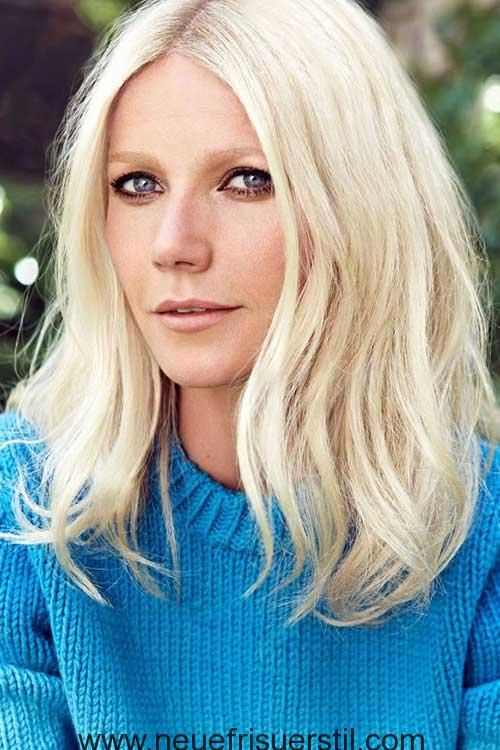 Platin-Blondine, Mittel Langes Haar