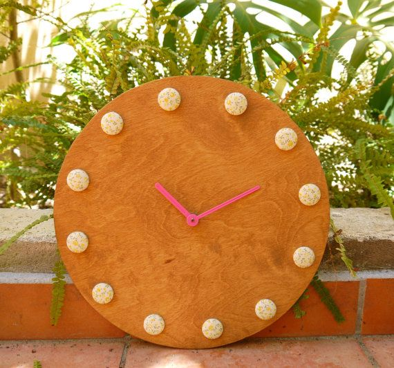 Wooden Wall Clock Fabric Wooden Clock by FabLabCrafts on Etsy