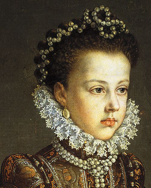 jaded-mandarin:  Las infantas Isabel Clara Eugenia y Catalina Micaela, 1575. Detail.