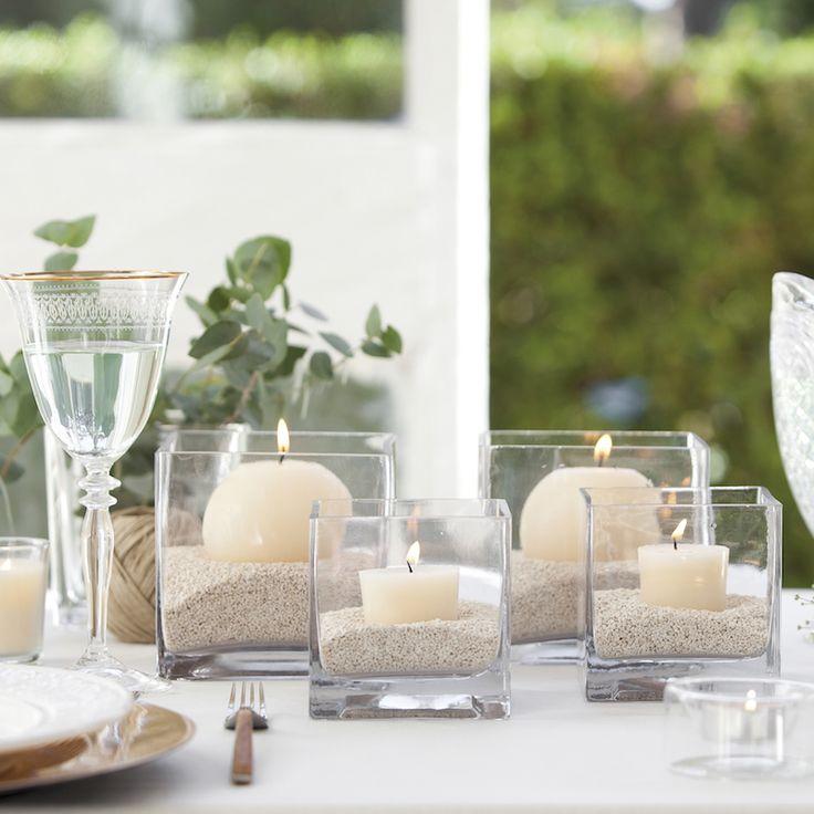 Porta velas de cristal cuadrado para eventos y decoración. Mesas bonitas. bodas. Decoragloba
