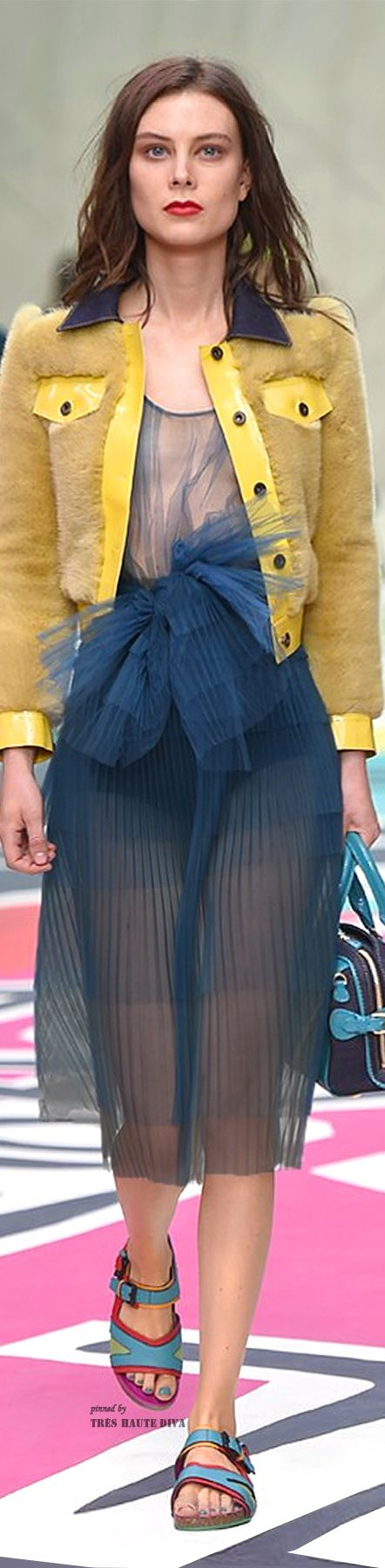 #LFW Burberry Prorsum Spring Summer 2015 (love the combination of color with yellow and blue however the shoes are horrible so is the design)