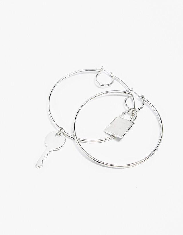 Key and Lock Pendant Hooped Earrings from Bershka £5,99