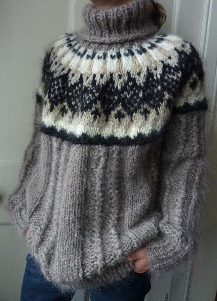 un pull islandais pour les soirs de l'hiver, pull en laine femmee à col montant