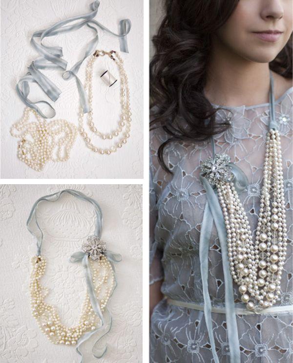 DIY pearl / ribbon necklace