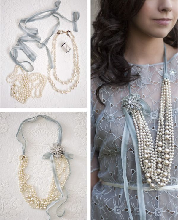 DIY pearl / ribbon necklace                                                                                                                                                                                 More