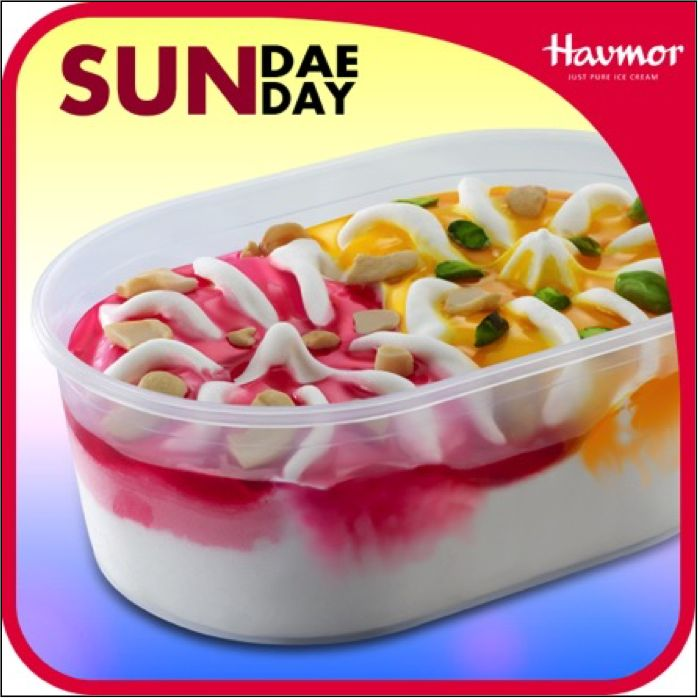 Unwind on the weekend with a sinfully sweet Mango & Strawberry  #SundaeSunday by Havmor Ice Creams.