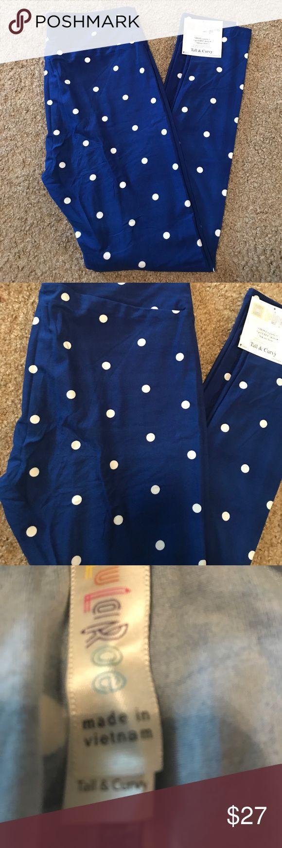 NWT Lularoe TC leggings New Lularoe tall @ curvy leggings, these fit on the lower end of the sizing chart.  Royal blue background with white polka dots. LuLaRoe Pants Leggings