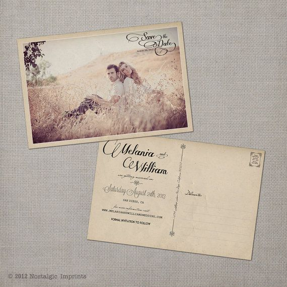 Vintage Save the Date Postcard  the Melania by NostalgicImprints, $38.00