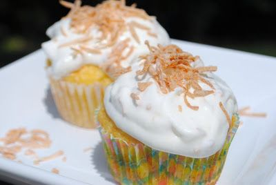 Pineapple Coconut Cupcakes - just a box of cake mix and a can of pineapple...then a sweet (LIGHT) frosting to top it off!