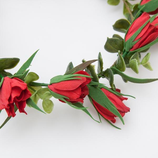 Red floral head wreath closeup