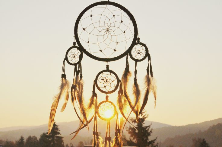dream catcher, sunset, dream, nature, feathers