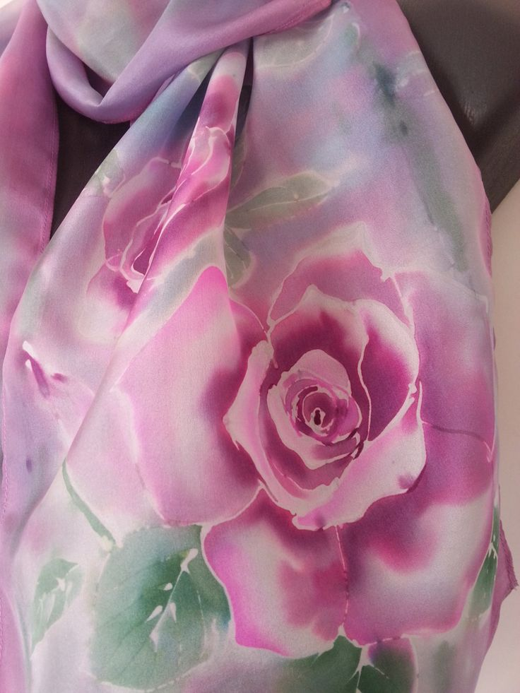 Rose Silk Scarf Hand Painted, Monet Pastels, Pink Rose flowers, 150x 29cm, New Zealand handmade, Blue, Pink, online Gift,GIFT Card included by KiwiSilks on Etsy