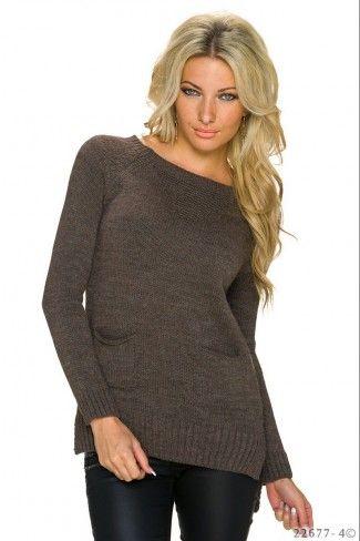 Ασύμμετρο πλεκτό πουλόβερ με τσέπες - Σκούρο Καφέ