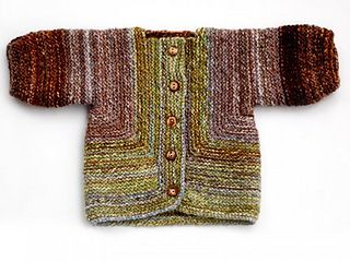 """""""The Baby Surprise Jacket was designed by Elizabeth Zimmermann in 1968 and remains a popular baby garment to this day. It is an excellent pattern for making use of oddments of yarn or self striping yarns with long color repeats, but looks equally nice knit in a single color with a contrasting button band."""""""