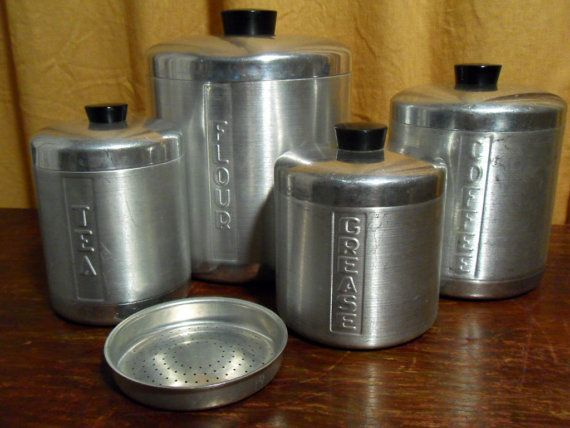 4 vintage 40s aluminum canisters set includes grease can for Kitchen set aluminium