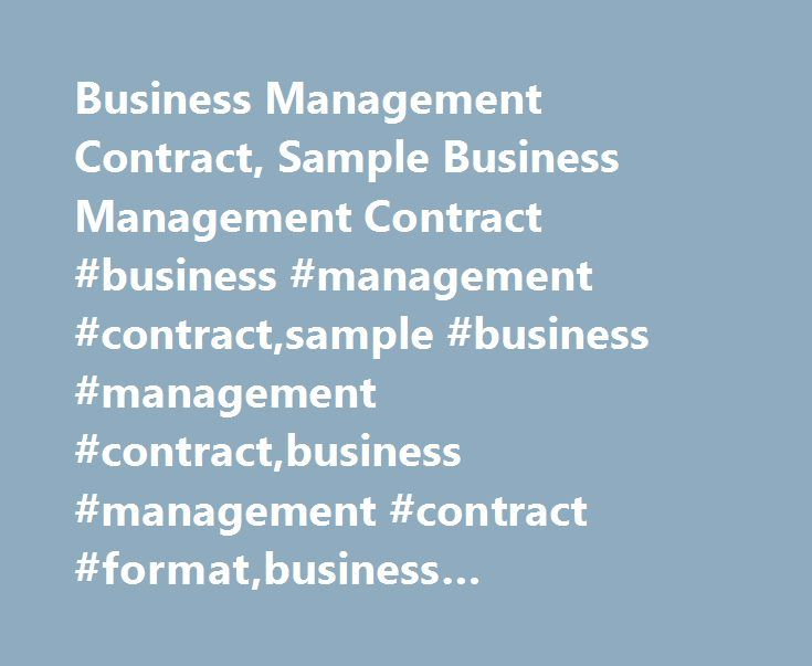 Business Management Contract, Sample Business Management Contract - contract sample