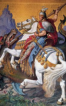"Picture: Mural ""St George killing the dragon"" by M. Kolmsberger, 1884.  From The Throne Hall of Neuschwanstein Castle."
