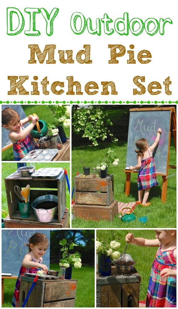 Diy outdoor mud pie kitchen set hours of pretend play for Funny kitchen set