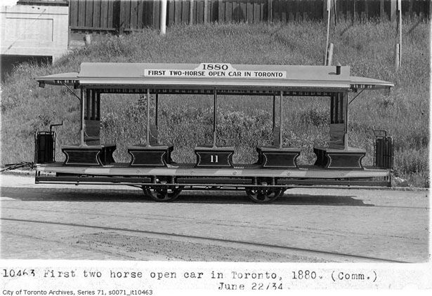 Toronto's Historic Transportation Vehicles- The first two horse open car Toronto, 1880