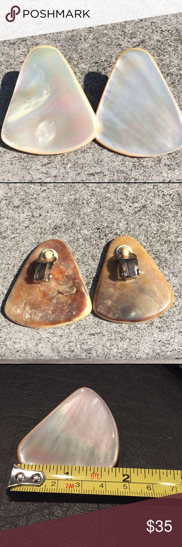 Vintage Mother Of Pearl Clip Earrings