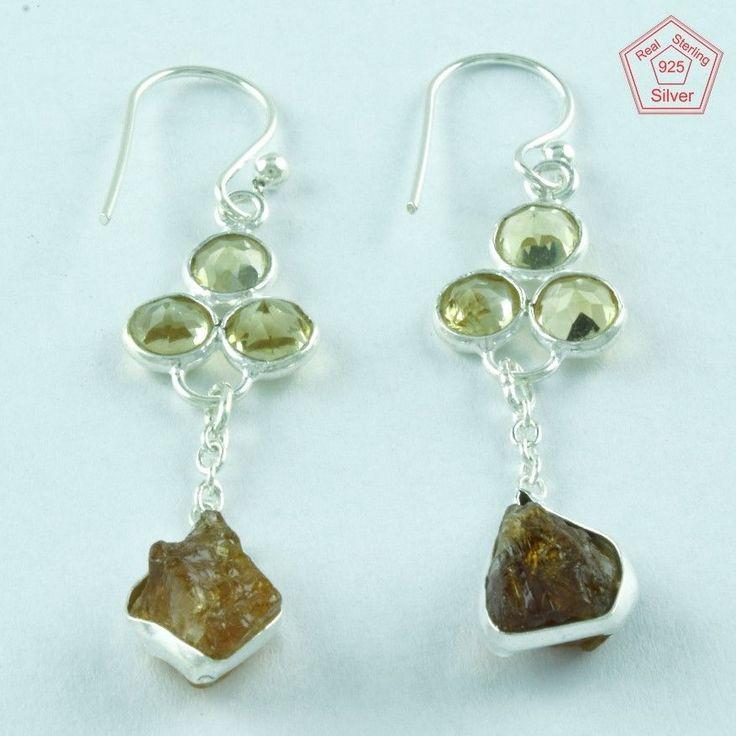 Geniune Citrine Stone 925 Sterling Fashion Earring Wholesaler India E3620 #SilvexImagesIndiaPvtLtd #DropDangle