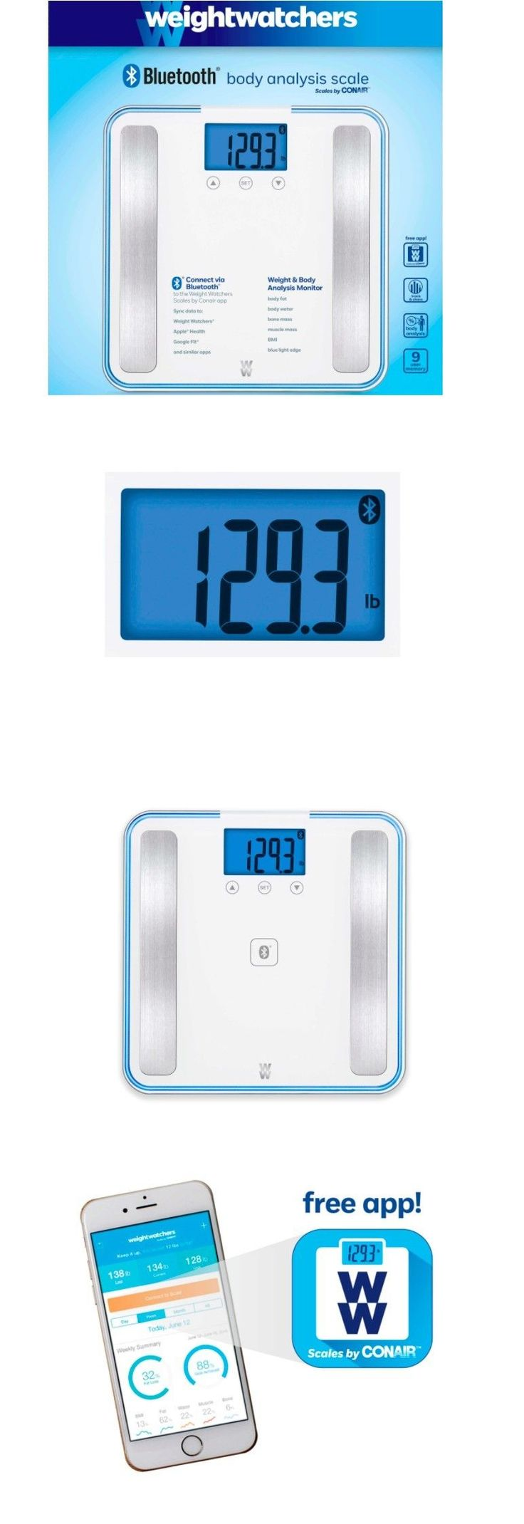 Scales: Weight Watchers Smart Digital Bluetooth Glass Bathroom Scale Body Fat Analysis BUY IT NOW ONLY: $89.99