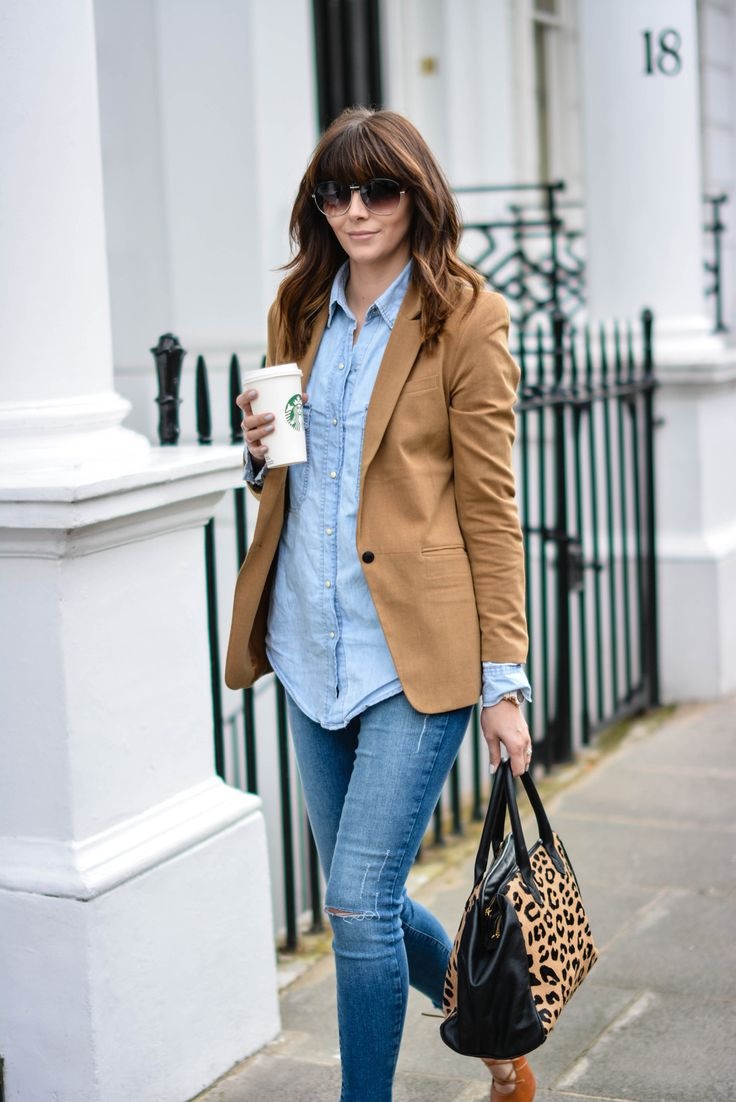 EJSTYLE - Emma Hill, raw hem ripped River Island skinny jeans, Forever 21 Camel blazer, Denim shirt, Leopard print ponyskin leather bag, double denim outfit, starbucks cup bloggers