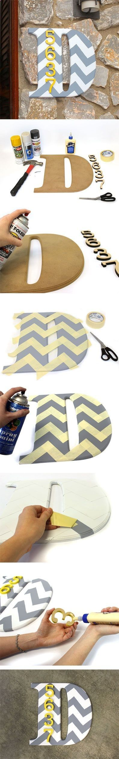 Chevron initial with house number.