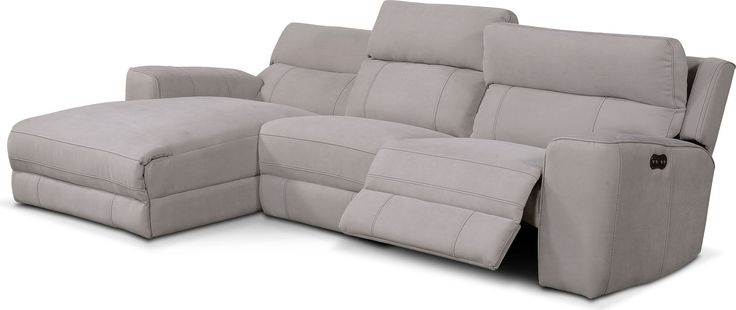 Value City Furniture Newport 3-Piece Power Reclining Sectional with Left-Facing Chaise - Light Gray by One80 $1,600