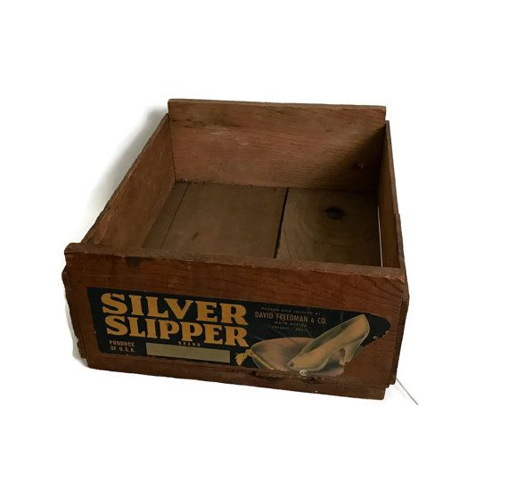 Vintage Wood Fruit Crate Silver Slipper Brand Wooden Box