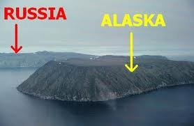 Little Diomede and Big Diomede islands....where the USA and Russia meet  along the International Date Line.