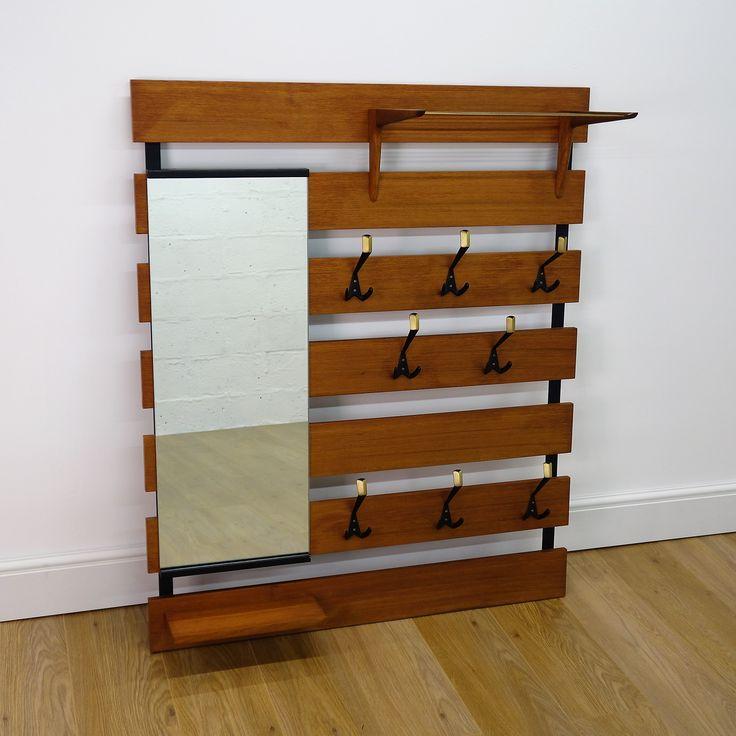 Buy Retro 1960s Danish teak wall mounted coat hanger hooks from Mark Parrish Mid Century Modern Furniture, Midcentury Design.