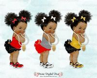 Rood zwart goud wit Ruffle broek natuurlijk haar Pony Tails