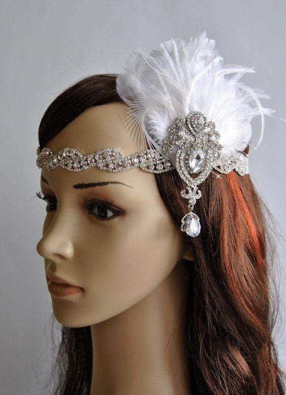 Glamour Rhinestone Flapper 1920s headpiece, Rhinestone Bridal crystal wedding headband, the great gatsby headpiece, rhinestone flapper