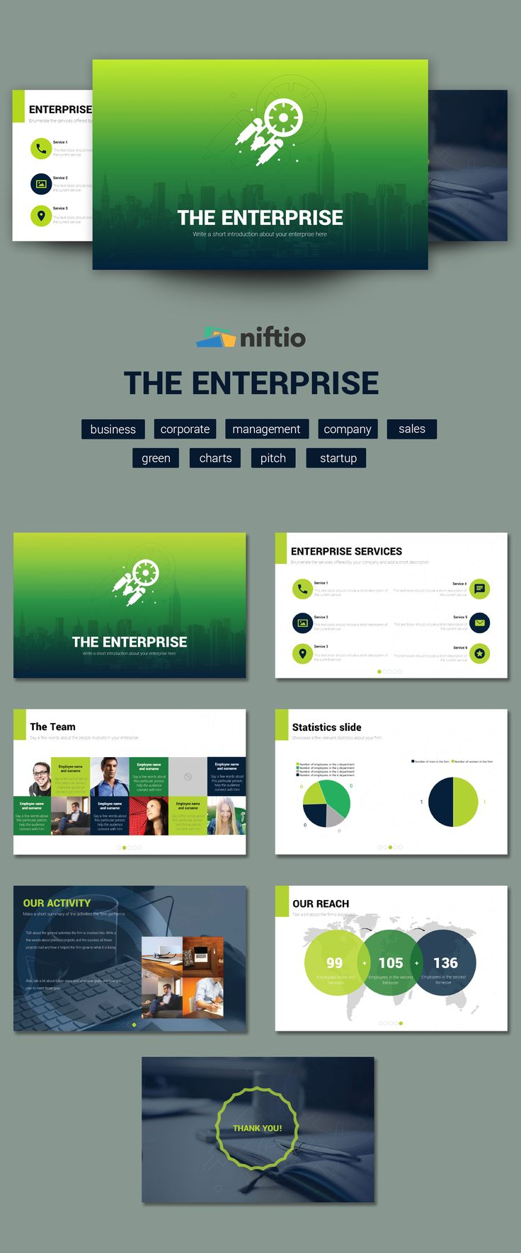 "A company presentation, an annual report or a status report, are a just a few use-cases for ""The Enterprise"" template."
