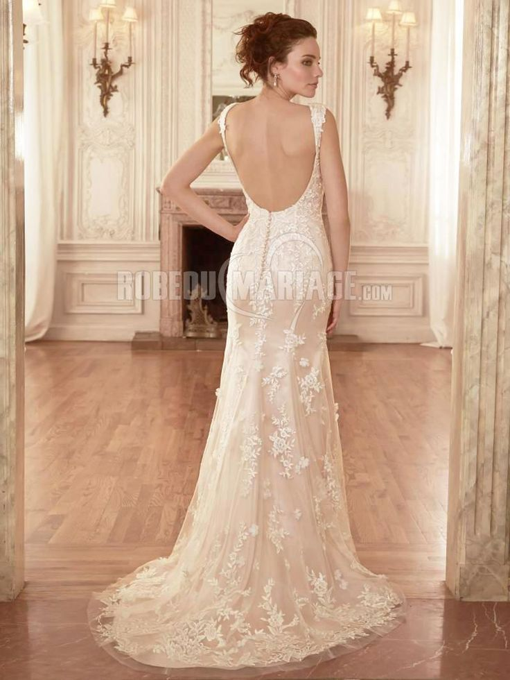 Col en v robe de mariée princesse dnetelle organza robe pas cher [# ...