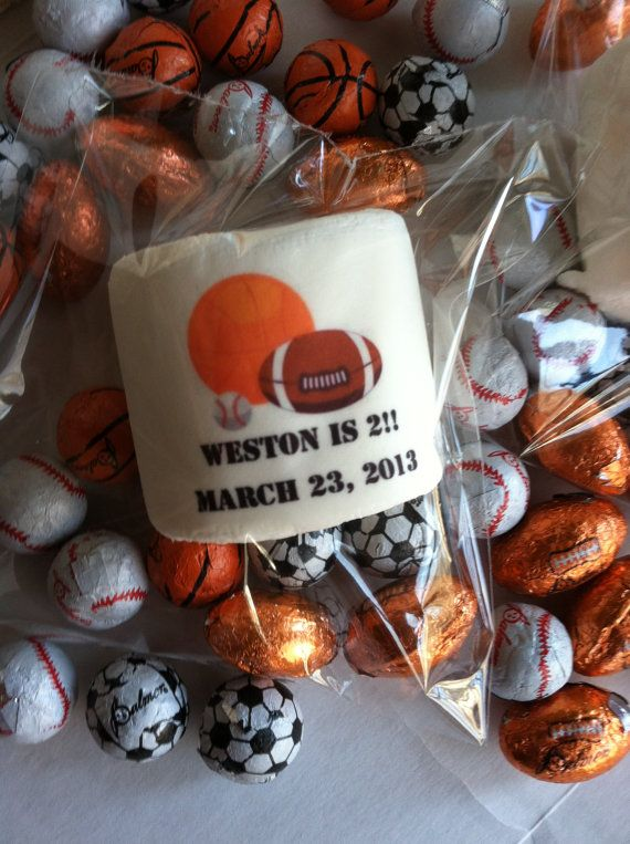 Personalized edible party favor marshmallow candy boys birthday party basketball baseball soccer football corporate sports birthday party on Etsy, $21.00