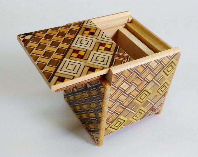Japanese Puzzle box (Himitsu bako)-54m (2.1inch) Kaku Cube 4 steps Yosegi