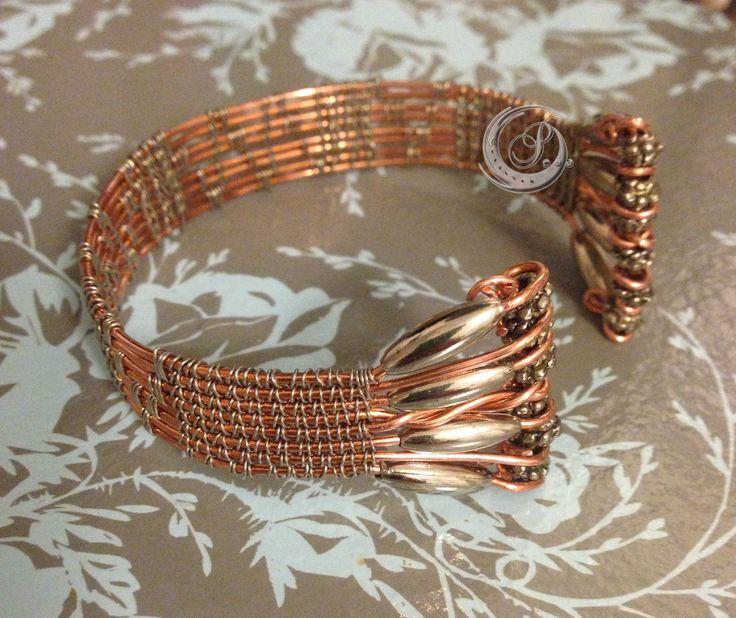 bracelet tissé cuivre et acier