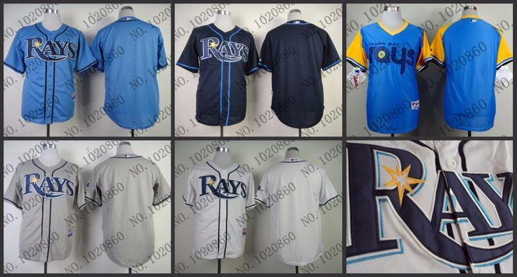 Тампа-бэй лучи мужская пустой бейсбол джерси аутентичные вышивка белый серый синий кофта S-3XL