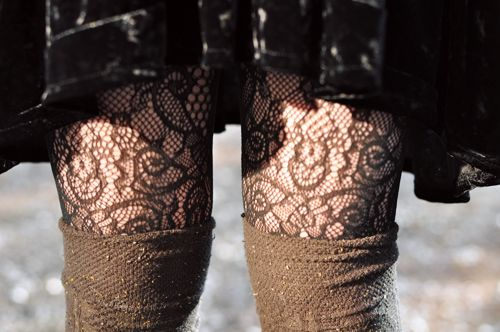 lace tights, velvet & wool.