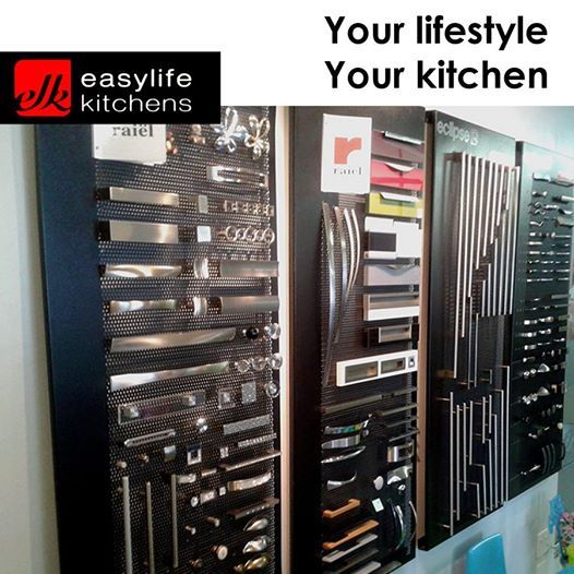 Choosing the correct handles for your cupboards is as important as selecting the cupboard itself. Easylife Kitchens George has a full display of handles and knobs to help you decide on your style of finish. #lifestyle #doorhandles #designercupboards