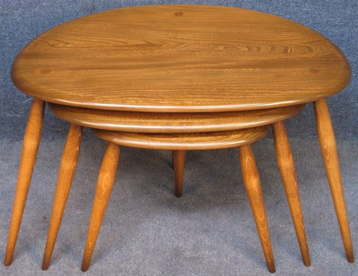 Ercol Elm & Beech Windsor 354C Nest Of 3 Pebbles Coffee / Occasional Tables G D