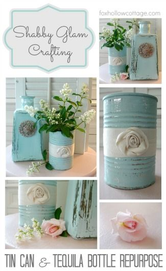 Tin Can Makeover Recycle Repurpose Upcycle Shabby Aqua DIY Craft www.foxhollowcottage.com | #tincan
